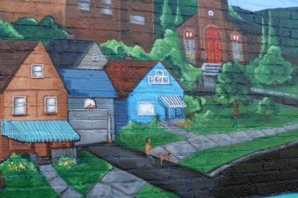 mural detail, houses