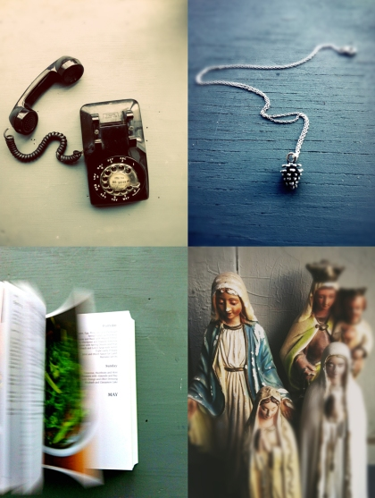 from top left: 1950s phone. necklace from jeff in honor of my surname. cookbooks to read before bedtime. virgin statues.