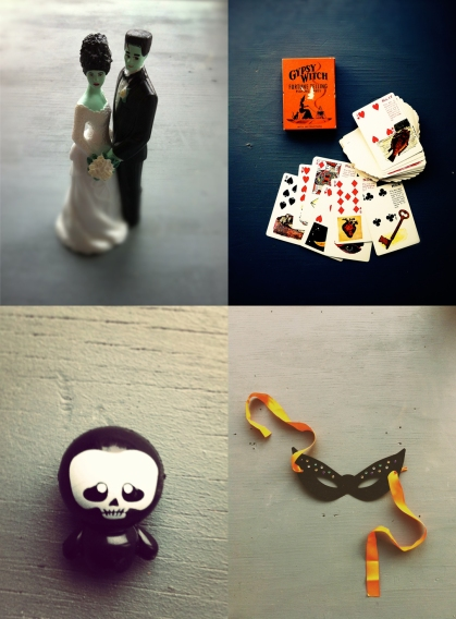 from top left: our wedding cake topper. gypsy witch cards have amazing artwork. bubble-gum machine monster from jeff. mask wedding gift.