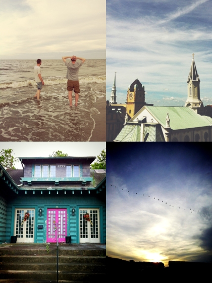 Top: l. Old friends, Tybee Island. r. Savannah from the top of a parking garage. Bottom: l. Witch house, Savannah, GA. r. Pelicans, Tybee Island.