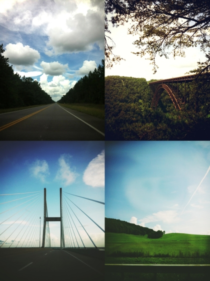 Top: l. Open road, Georgia. r. New River Gorge, WV.  Bottom: l. Jekyll Island, GA. r. Blue Ridge morning, VA.