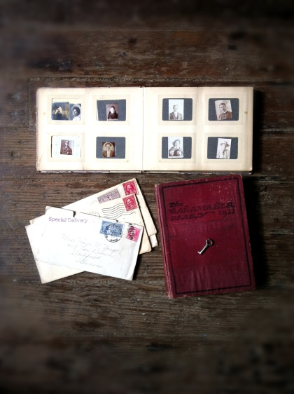 From my ephemera collection:  Top row: miniature portrait album. Bottom row: vintage love letters. Gertrude's diary.