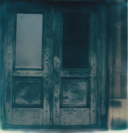 Charleroi: Blue door to an old bank.