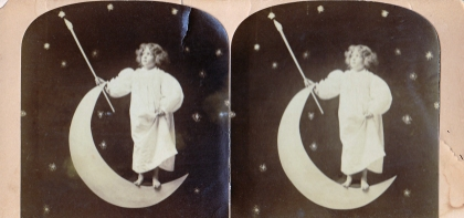 My first paper moon image: stereoscope found in a Gettysburg flea market.